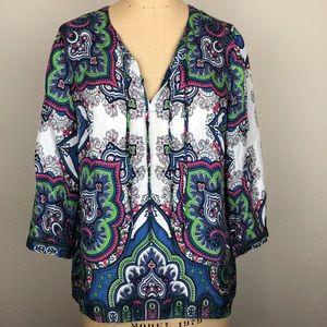 "Talbots 3/4"" Sleeve Multi Color Silk Blouse"